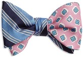 Brooks Brothers Double-Sided Stripe/Flower Self-Tie Bow Tie