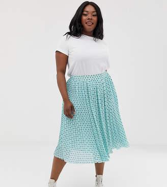 Glamorous Curve plisse midi skirt in mini star print-Blue