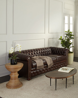 """Old Hickory Tannery Chesterfield Leather Sleeper Sofa, 84"""""""