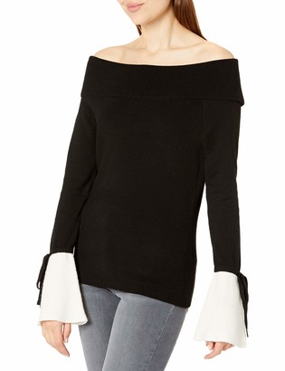Michael Stars Women's Mixed Stitch Long Sleeve Off-The-Shoulder Sweater