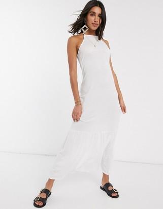 ASOS DESIGN square neck halter maxi dress with pep hem in white
