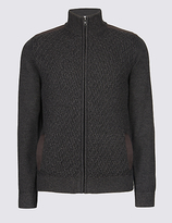 M&S Collection Textured Zipped Through Cardigan