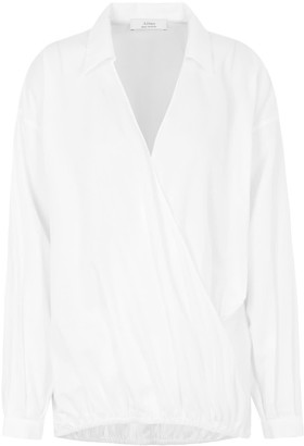 A Line Clothing White Cross-Body Blouse