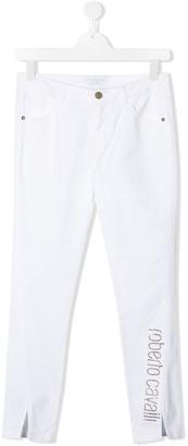 Roberto Cavalli Junior TEEN slim-fit rhinestone logo jeans