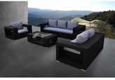Solis Agujero Outdoor Deep Seated Black 4-piece Wicker Rattan Patio Sofa Set