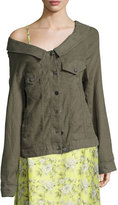 Robert Rodriguez Off-the-Shoulder Long Jacket, Olive