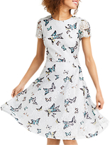 Oasis Everly Butterfly Lace Dress, Mid Grey