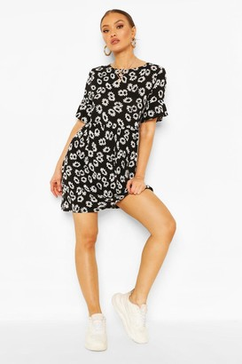 boohoo Daisy Print Smock Dress