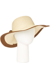 Beige & Brown Contrast Bow-Accent Sunhat