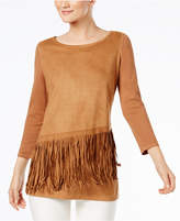 INC International Concepts Fringe-Trim Sweater, Created for Macy's