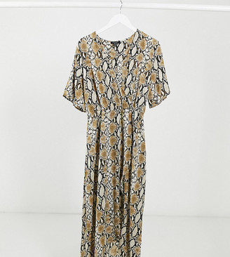 New Look Curve dip hem dress in snake
