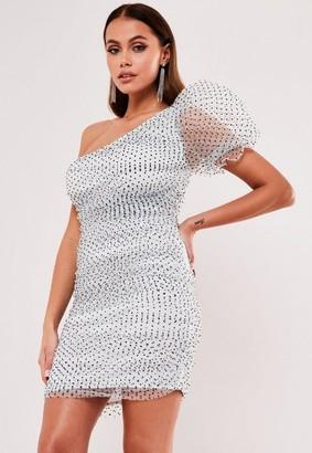 Missguided White Organza Polka Dot One Shoulder Mini Dress