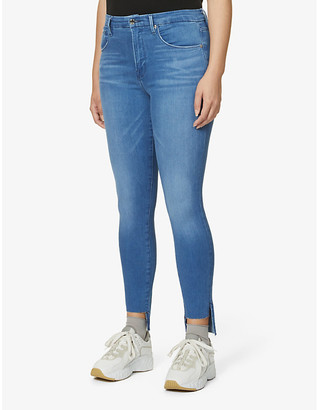 Good American Good Waist stepped-hem skinny high-rise jeans