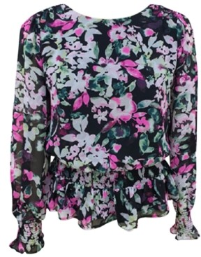 Bar III Smocked Floral-Print Blouse, Created for Macy's