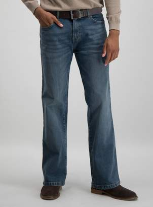 Tu Light Wash Denim Belted Bootcut Jeans With Stretch