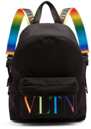Valentino Logo-logo Canvas Backpack - Black Multi