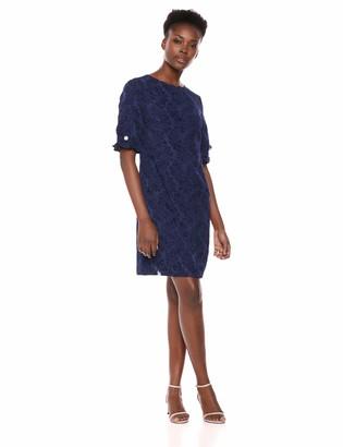 Karl Lagerfeld Paris Women's Ruffle Pearl Trim Sleeve Dress