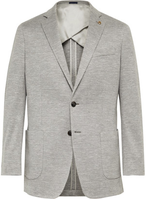 Peter Millar Grey Prince Of Wales Checked Wool, Silk And Linen-Blend Blazer