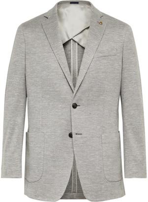 Peter Millar Grey Prince of Wales Checked Wool, Silk and Linen-Blend Blazer - Men