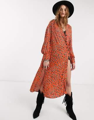 Free People c'est moi leopard print midi dress