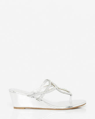 Le Château Metallic Faux Leather Wedge Sandal