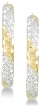 Signature Gold Diamond Accent Patterned Hoop Earrings in 14k Gold & 14k White Gold over Resin
