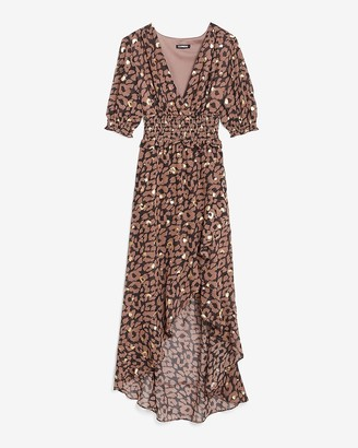 Express Metallic Leopard Smocked Waist Midi Dress