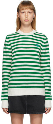 Acne Studios Green and White Breton Stripe Sweater
