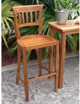 Chic Teak Amsterdam Teak Wood Indoor/ Outdoor Bar Stool Chair