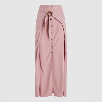 Nanushka Pink Chemia Cotton Terry Wrap Maxi Skirt M
