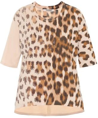 Roberto Cavalli Embellished leopard cotton T-shirt