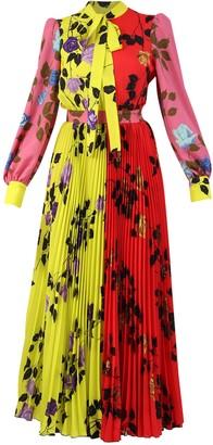 MSGM Floral Colour-Block Maxi Dress