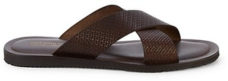 Saks Fifth Avenue Made In Italy Textured Crisscross Leather Slides