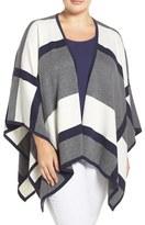 Foxcroft Plus Size Women's Colorblock Cotton Blend Wrap