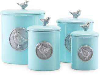 Old Dutch Set of Four Lauren Bluebird Stainless Steel Canister