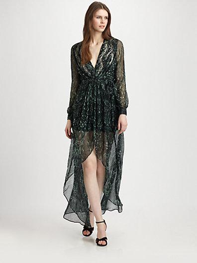 Haute Hippie Silk Hi-Lo Maxi Dress
