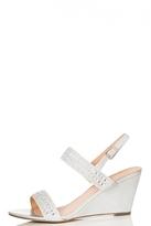 Quiz Silver Diamante Strap Wedges
