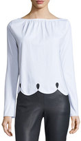 See by Chloe Long-Sleeve Scalloped Jersey Tee, White