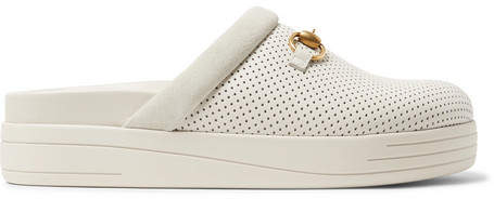 Gucci Horsebit Suede-Trimmed Perforated Leather Sandals
