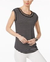 Cable & Gauge Cupio Embellished Striped Blouse