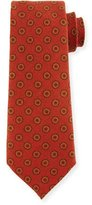Canali Circle Medallion Wool Tie, Red