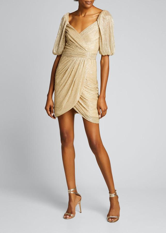 Jonathan Simkhai Nina Metallic Ruched Mini Wrap Dress