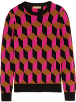 Michael Kors Hexagon-intarsia Cashmere Sweater - Fuchsia