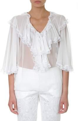 Dolce & Gabbana V Neck Ruffled Sheer Blouse