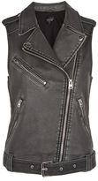 Topshop Sleeveless faux leather biker jacket