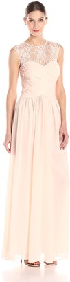 JS Boutique Women's Lace and Rouched Cap Sleeve Gown
