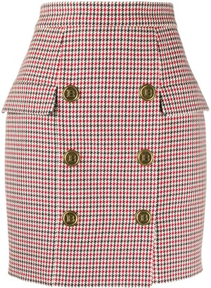Balmain 6-Button Houndstooth Mini Skirt