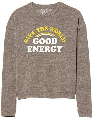 The Original Retro Brand Kids Give the World Good Energy Pullover (Big Kids) (Heather Grey) Girl's Clothing