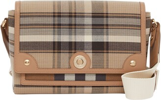 Burberry Medium Note Tartan Wool & Leather Crossbody Bag