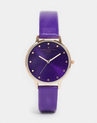 Johnny Loves Rosie watch with purple dial